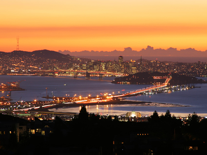 Bay Bridge - at Sunset viewed from the Oakland-Berkeley Hills. Click on picture to enlarge.