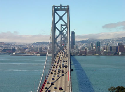 Upper Deck of the Bay Bridge in San Francisco, California